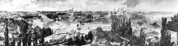 Фрагмент панорамы Киева. Рисунок Гроте. 1850 г.